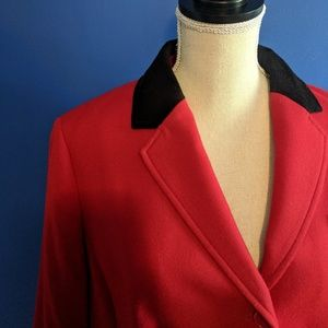 Giddy Up! Deep red with velvet collar